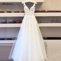 Lakshmigown Vintage Lace Boho Wedding Dress 2020 Vestidos de Boda Deep V Neck Sexy Bridal Dresses Sleeveless Open Back Floor
