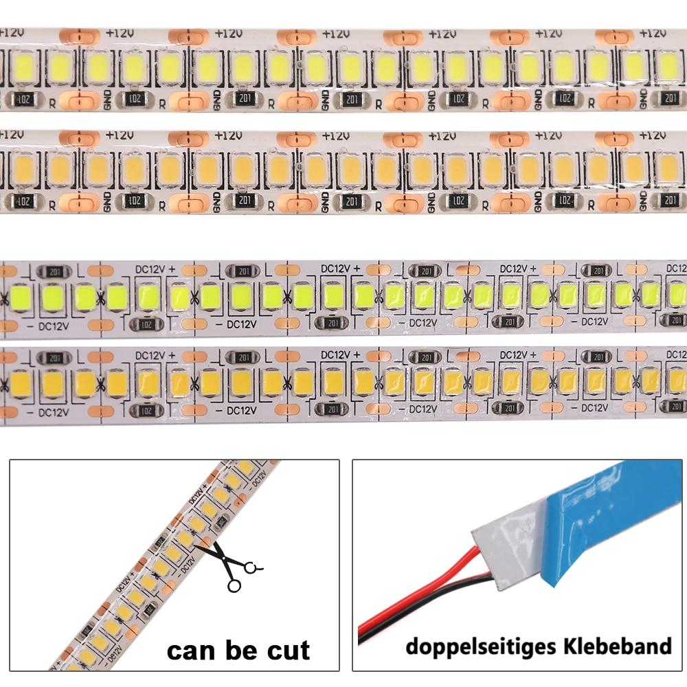 H39fe41bbebdd431881577d674cd7dcafC LED Strip 2835 SMD 240LEDs/m 5M 300/600/1200 Leds DC12V High Bright Flexible LED Rope Ribbon Tape Light Warm White / Cold White