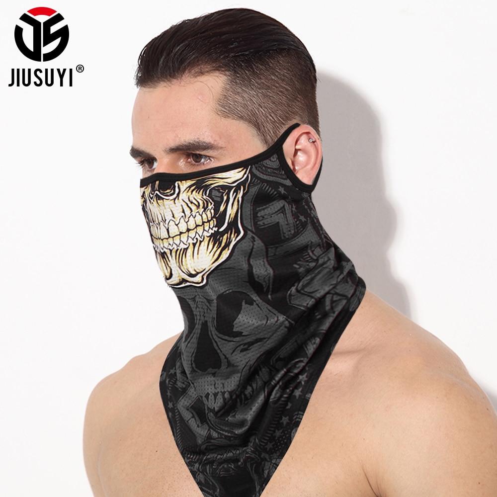 Triangle Skull Bandana Half Face Shield Mask Breathable Sunscren Windproof Neck Cover Tube Ski Scarf Ice Silk Headband Men Women
