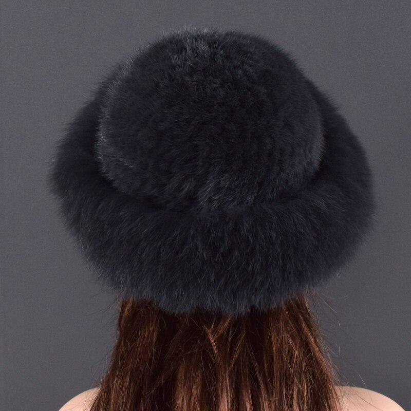 Gorros de piel de visón Real para mujer, sombreros de invierno de piel de zorro auténtica, sombrero de invierno de calidad de lujo, elástico, suave y esponjoso natural sombrero de piel - 4