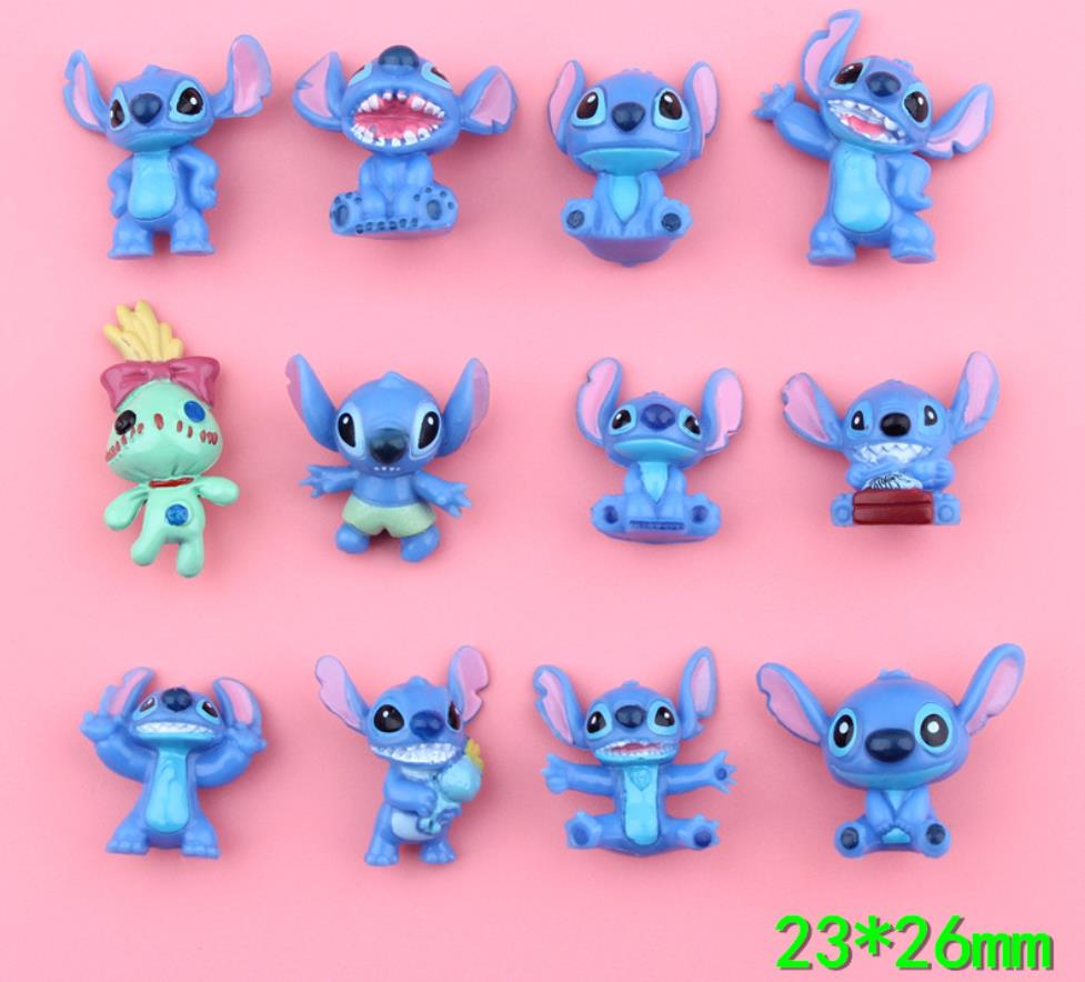Kawaii Flat Back Resin Cabochon Cartoon Stitch Resin DIY Flatback Embellishment Accessories Small Statue Little Figurine Crafts