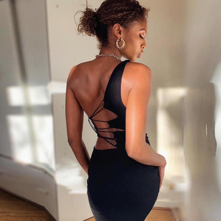Summer Black Sexy Hollow One Shoulder Y2K Mini Dress Women Sleeveless Backless Bandage Party Clubwear Beach Slim Dresses 2021New 2