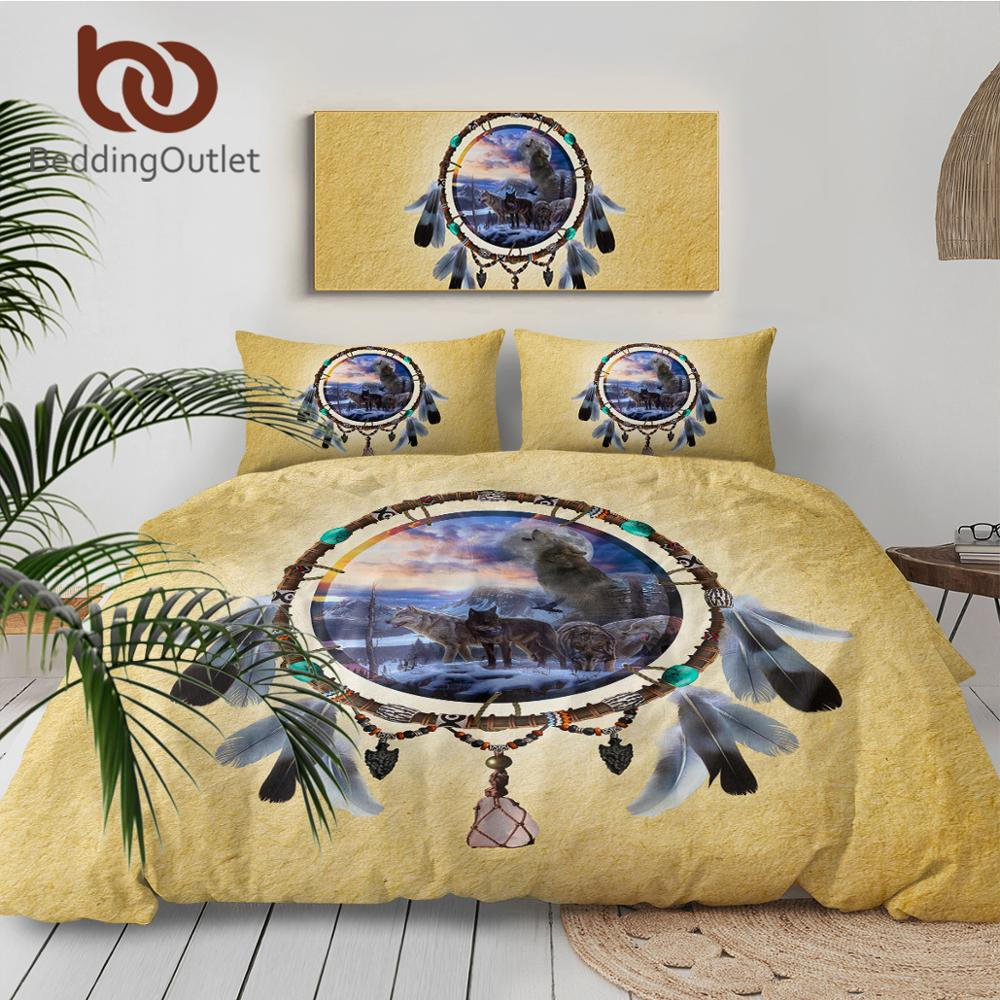 Wolves Dreamcatcher Bedding Set Native American Indian Wolf Duvet Cover 3pcs