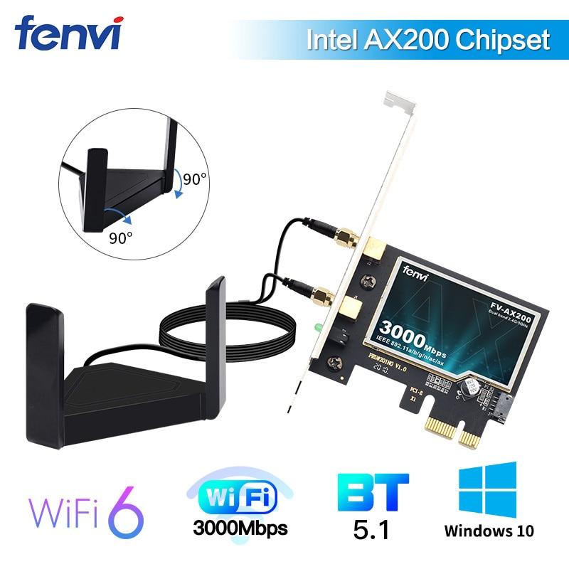 2974Mbps Pcie Wifi6 Adapter Intel Ax200 Wifi Card Wireless Bluetooth 5.1 Dual Band 2.4G/5Ghz 802.11Ax/Ac External Magnet Antenna