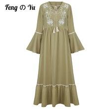 Muslim Ladies Fashion Commuter V-neck High Waist Tassel Embroidery Dubai Trumpet Sleeve Ruffle Skirt Robe Khaki Prayer Dress