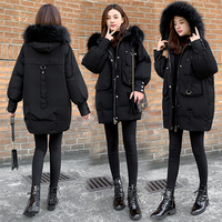 Winter warm clearance cotton jacket women's large fur collar was thin cotton clothing 738