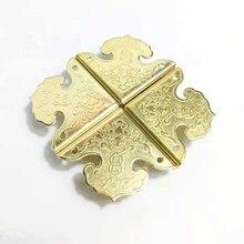 4Pcs Small Vintage brass box corner protector for Furniture Decorative pattern Cabinet Jewelry Chest Box Corner Angle Cover