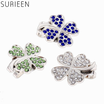 1Pc Zinc Alloy Golf Ball Position Mark Marker W/ Magnetic Golf Hat/Cap Clip Golf Training Aids Crystal Four Leaf Clover Pattern oorbellen zinc alloy rushed earing 2018 xionggui new arrival korean color rhinestones flower earrings piercing four leaf clover