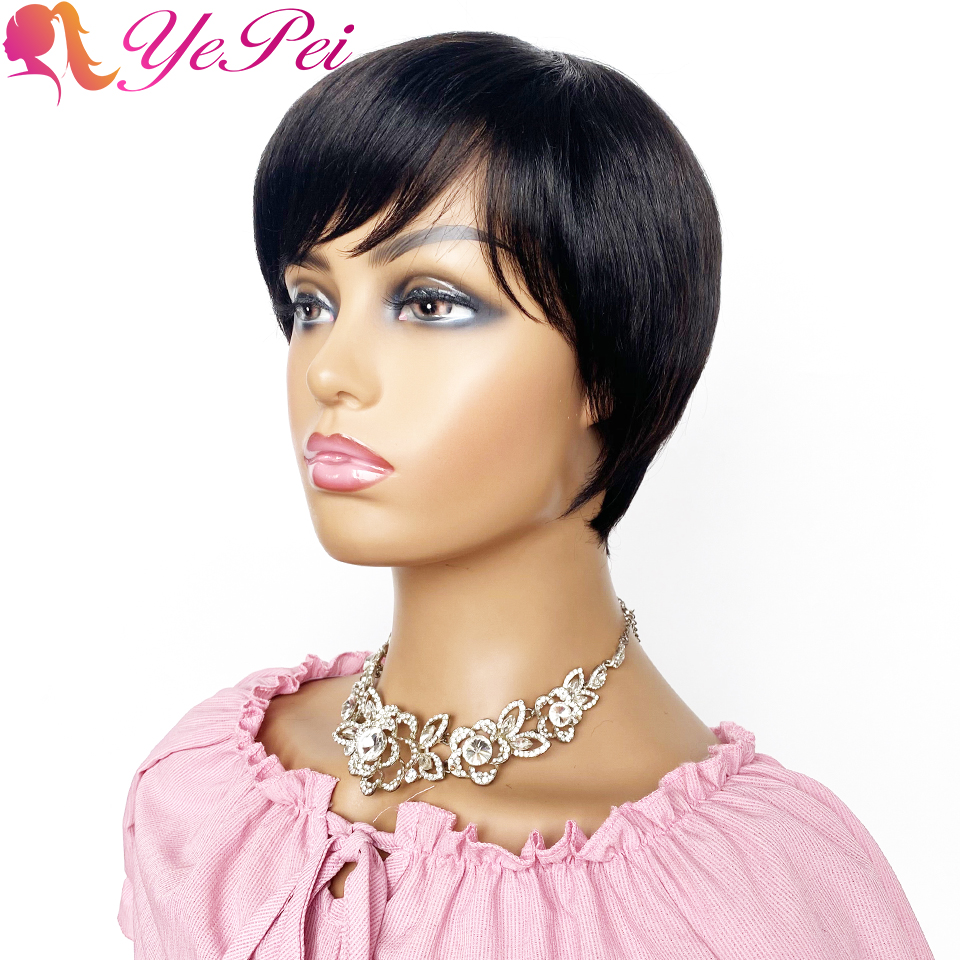 Short Human Hair Wigs Pixie Cut Straight Brazilian Remy Hair Short Full Machine Made Wig With Bangs Black Color Yepei Hair
