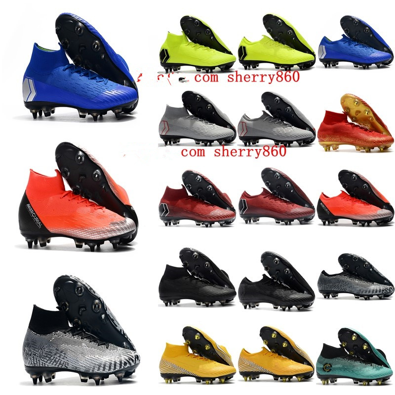 2019 mens soccer <font><b>shoes</b></font> Superfly VI <font><b>360</b></font> LVL UP Elite SG AC high ankle soccer cleats CR7 football boots scarpe calcio image