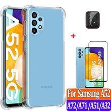 Funda de silicona Samsung A 52 Fundas de móvil Original antigolpes Carcasa para Samsung Galaxy A52 5G Case A72 A51 A32 2021 cubierta suave Samsung A52 Funda Transparente