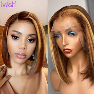 Ombre Highlight Wig 13x4 HD Transparent Lace Front Wig Straight Ombre Bob Wig Ombre Brown Honey Blonde Short Bob Lace Front Wig(China)
