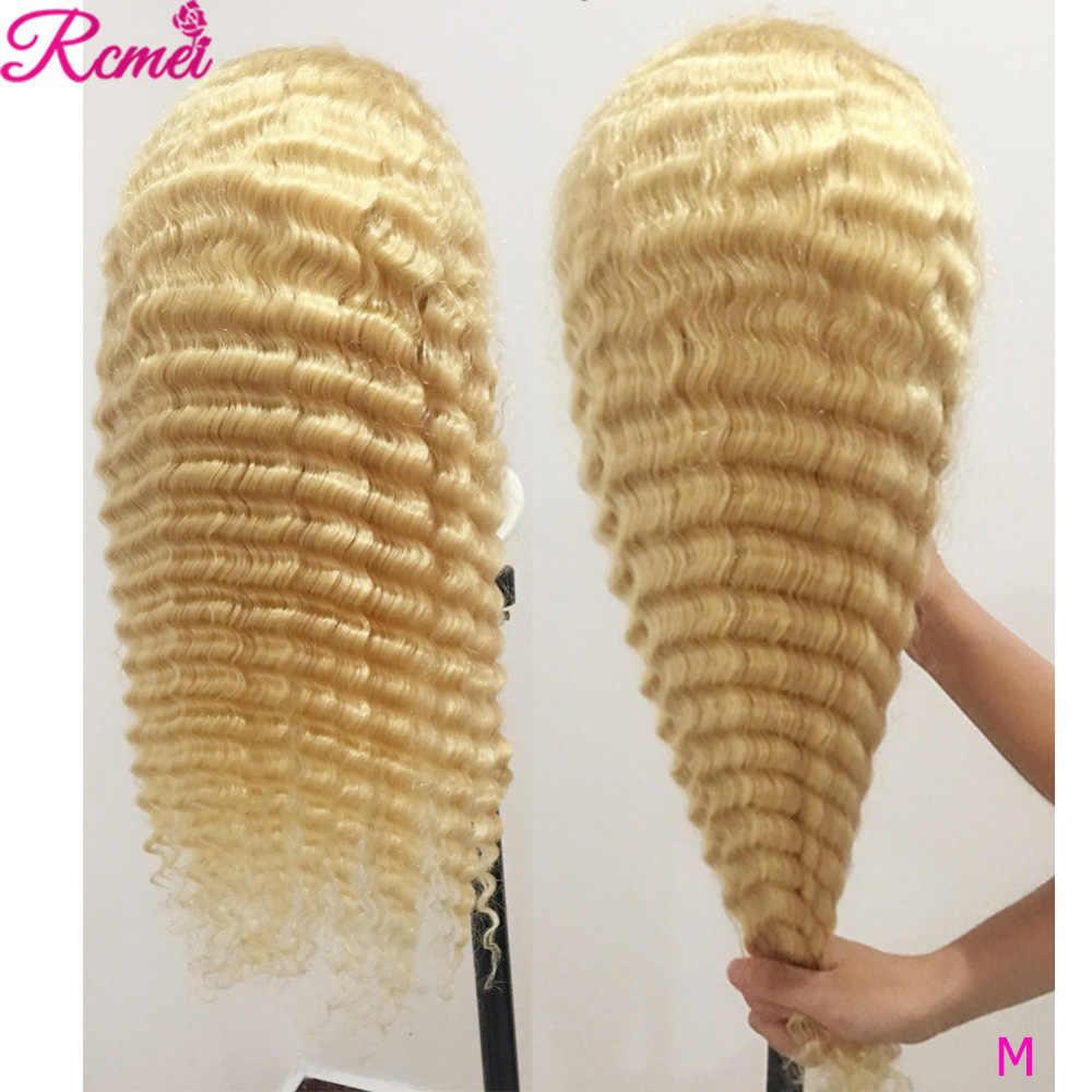 13x4 613 blond koronkowa peruka na przód głęboka fala ludzkich włosów peruki z dziecięcymi włosami Remy brazylijski wstępnie oskubane dla kobiet Rcmei koronkowe peruki 150