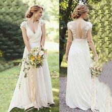 Short Sleeves V neckline Lace Top Chiffon Skirt Vintage Wedding Dresses with Lace Boho Bridal Dresses 2019 luxury wedding dress