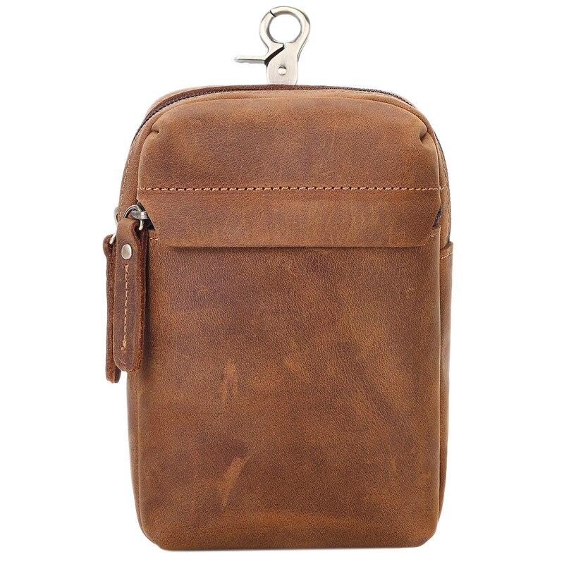 MISFITS Leather Men's Retro Small Pockets Multi-Function Belt Phone Bag Hook Ring Pockets