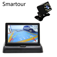 Smartour Parking assist system 4.3 TFT folding LCD color rear view display 2 in 1 HD monitor reversing image rear view camera