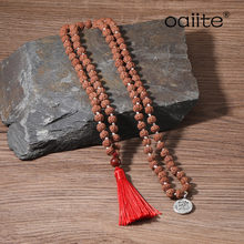 OAIITE Buddhist Prayer Bead Necklace 8mm Egg Yolk Stone Necklece Meditation Namaste Yoga Mala Necklace Jewelry(China)