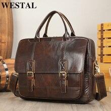 WESTAL-maletín de piel auténtica para hombre, maletín de diseñador vintage, para documentos y oficina