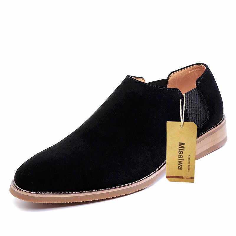 Misalwa純粋な牛スエード革の男性豪華なチェルシースリップオン低トップ男性フラッツ/5 センチメートル高さ増加エレベーターの靴
