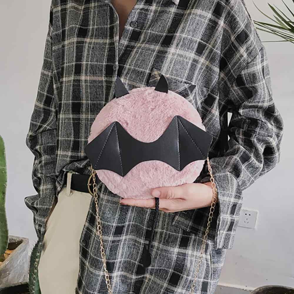 Женская сумка с забавными мультяшными летучими мышами, плюшевые сумки, индивидуальные сумки через плечо, простые милые универсальные повседневные 2020 Новые