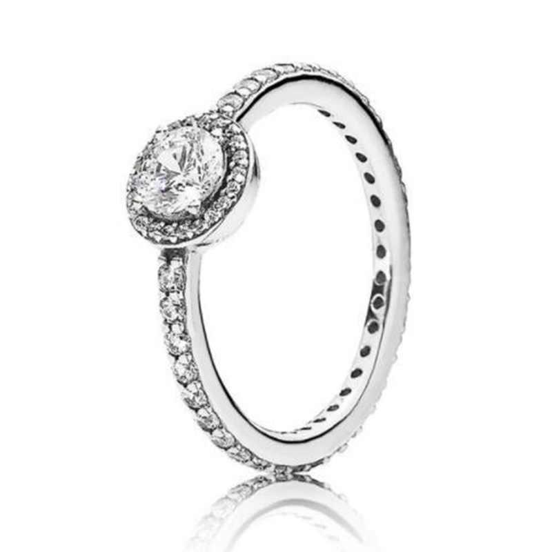 Kolor srebrny pierścień Pave Logo podpis z kryształowymi pierścieniami Pan dla kobiet 925 Wedding Party prezenty urodzinowe Fine Jewelry
