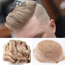 EVASFOS Indische Menschliche Remy Haar Ersatz System Für Männer Toupet Verschiedene Farbe Männer Haarteile Q6 Basis Frence Spitze mit Haut PU