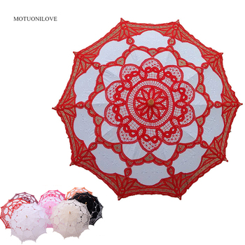 Embroidery Lace Bridal Umbrella Parasol Black Red White Cotton Sunshade for Bride Wooden Handle Wedding Decoration Umbrella 2019 handmade cotton lace parasol umbrella and hand fan party wedding decor