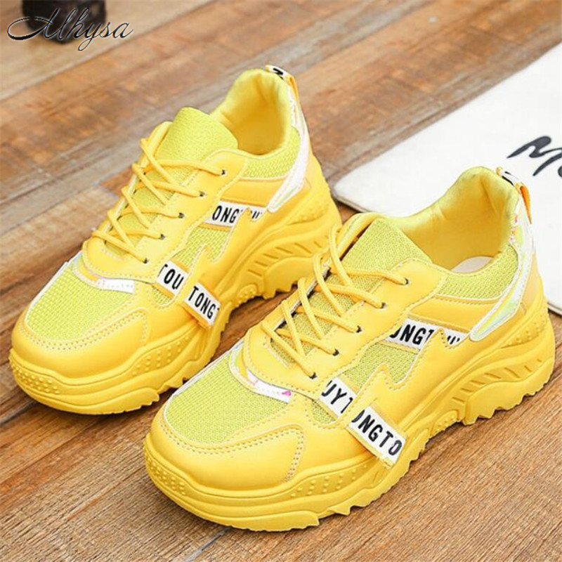 2020 Hot New Spring Fashion Women Casual Shoes Mesh Yellow Graffiti Totem Platform Shoes Woman Tenis Zapatillas Mujer Size 35-41
