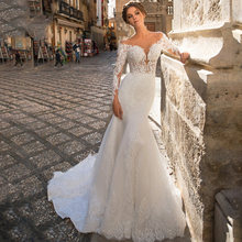Винтажное свадебное платье с длинными рукавами и юбкой годе