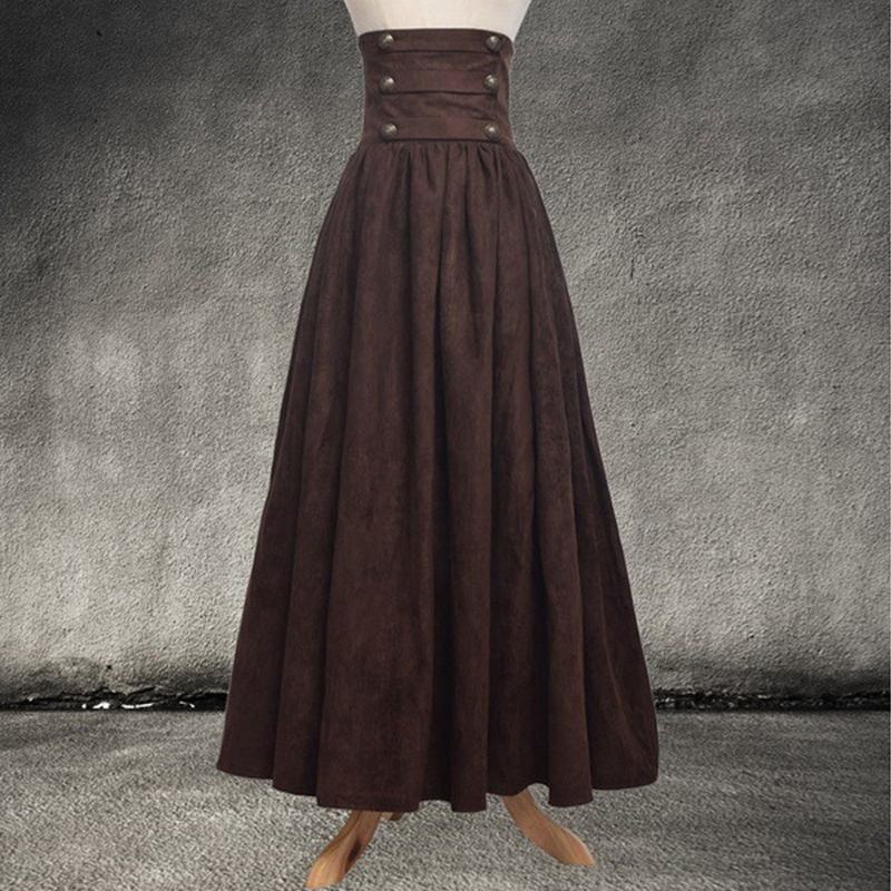 SHUJIN Women Vintage Tunic Skirt High Waist Medieval Retro Long Skirt Ladies Solid Gothic Maxi Skirt For Party Stage Costume