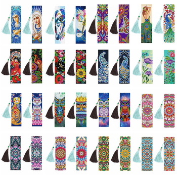 2PCS/Set DIY Special Shaped Diamond Painting Bookmarks diamond Embroidery Cross Stitch Tassel Bookmarks Books Diamond Mosaic фото