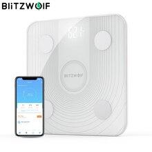 BlitzWolf BW SC1 2.4GHz WiFi Smart balance de graisse corporelle APP contrôle à distance analyze de données imc avec 13 mesures corporelles balance de poids numérique
