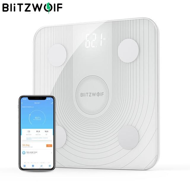BlitzWolf báscula de cuerpo inteligente, BW SC1, 2,4 GHz, WiFi, Control de grasa, aplicación remota, análisis de datos de IMC, 13 métricas corporales, báscula de peso Digital
