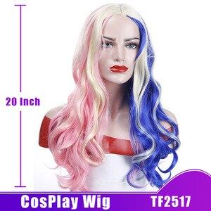 Image 4 - MUMUPI perruque synthétique longue 20 pouces pour déguisement dhalloween, perruque Harley Quinn rose, bleue, Ombre, perruque ondulée pour femmes
