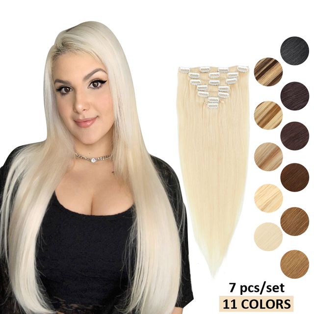 $ US $24.00 MRSHAIR Brazilian Extensions Human Hair Clips In Machine Remy Straight Hair With Clips Blonde Hair Natural 7pcs Set 12 Colors