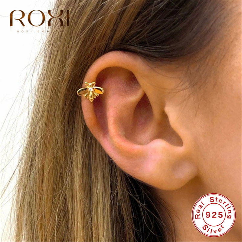 ROXI Cute Tiny Bee Ear Cuff Clip Earrings Without Piercing Korean Honey Bee Earcuff Non Pierced Real 925 Sterling Silver Jewelry