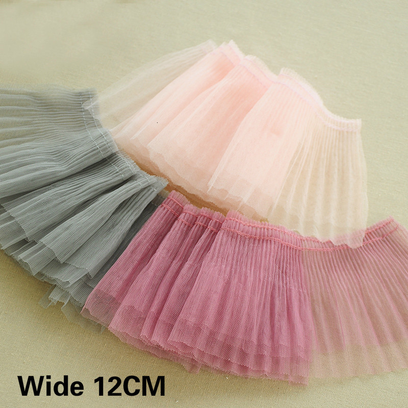 12CM Wide Double Layers Tulle Pleated Lace Fabirc Collar Cuffs Edging Trim Ribbon Curtains Dress Clothing DIY Sewing Accessories image