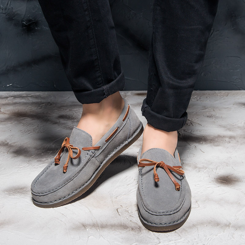 Rommedal Men Boat Shoes Suede Leather Slip-on Moccasins Loose Comfy Male Casual Shoes Breathable Drive Flats Walk Loafers Shoes
