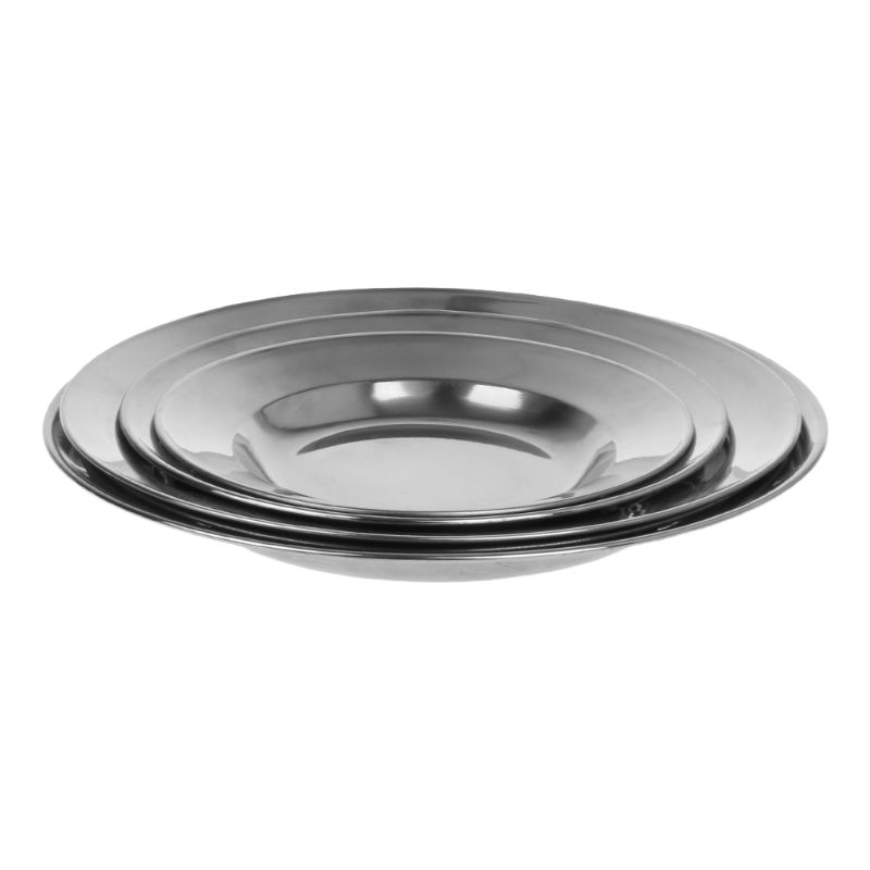 Stainless Steel Round Plates Dish For Lunch//Dinner Plates Camping Indoor Outdoor Plates