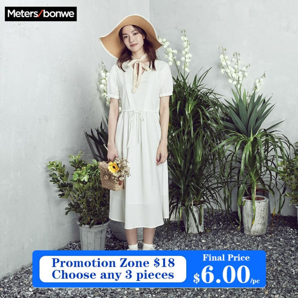 Женская одежда Metersbonwe, летнее шифоновое платье с рукавами-фонариками