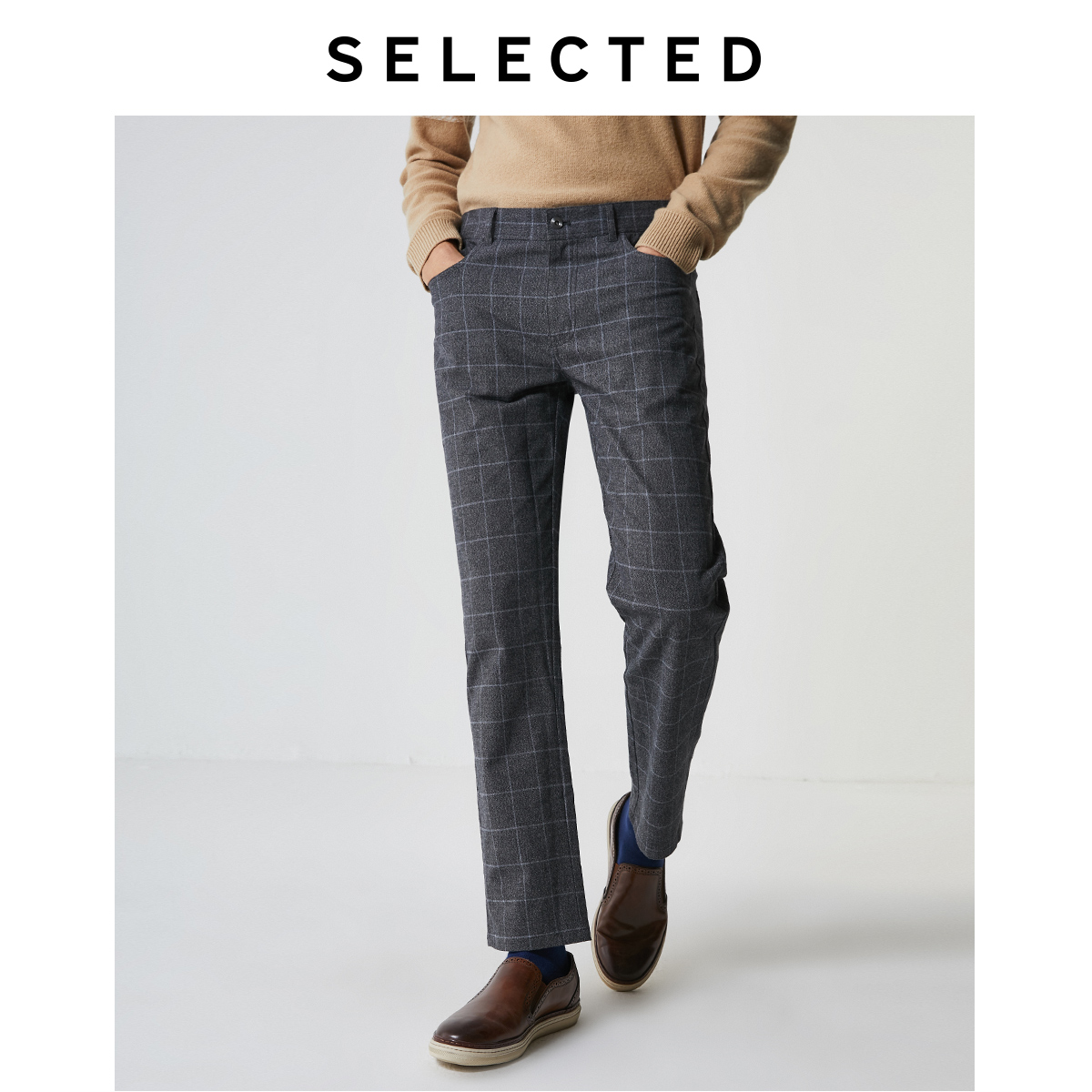 SELECTED Men's Slim Fit Slight Stretch Checked Pants S|419414528
