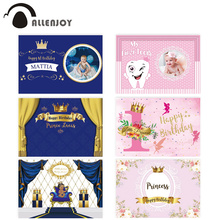 Allenjoy Crown photography backdrop prince 1st birthday Curtains photozone party Backdrops Kid Baby Shower background photocall