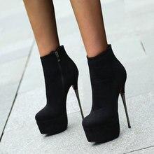 Karinluna, gran oferta, zapatos de plataforma elegantes, botas para mujer, Sexy fetiche extremo, tacones altos finos de fiesta con cremallera, botines, zapatos de mujer