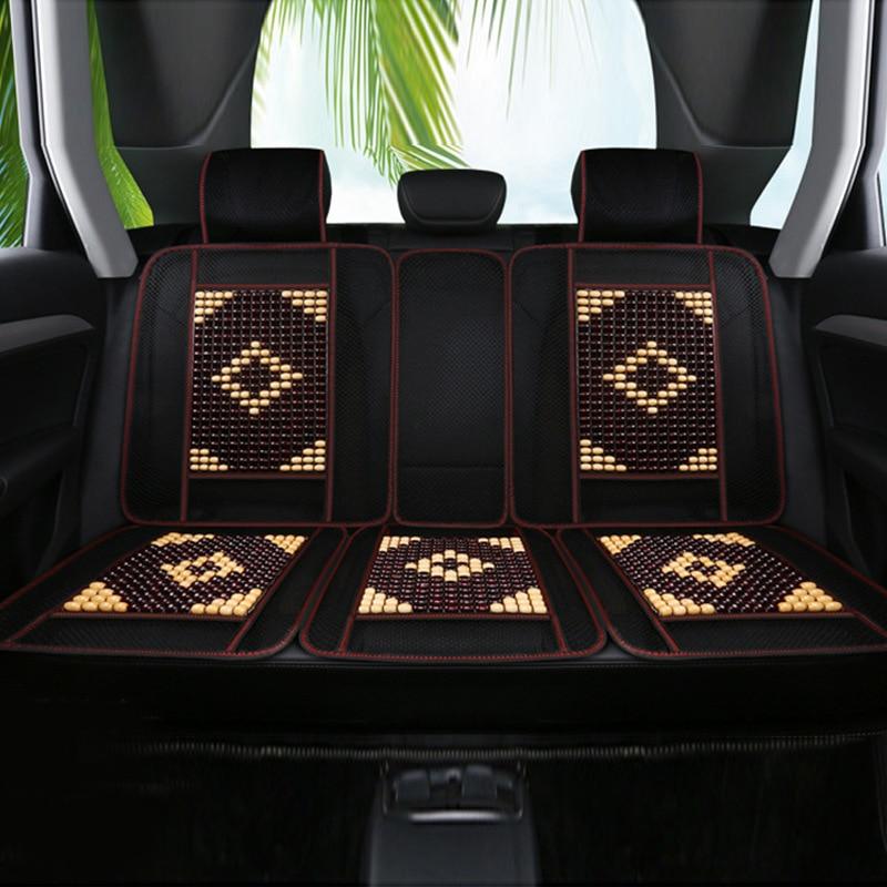 Автомобильная крутая Подушка, деревянная подкладка с бусинами, Бамбуковая дышащая Цинь, крутая подушка из пяти частей, основная часть, цельный коврик для сидения