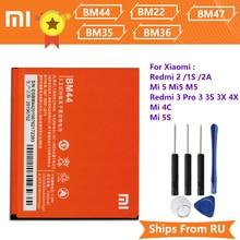 Xiao Mi Xiaomi BM44 Telefoon Batterij Voor Xiaomi Redmi 2 Redmi 1S 2A BM22 Mi5 Mi 5 BM35 Mi 4C BM36 5S BM47 Redmi 3 3 Pro 3S 3X 4X
