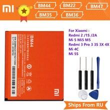 Xiao Mi Xiaomi BM44 telefonu pil için Xiaomi Redmi 2 Redmi 1S 2A BM22 Mi5 Mi 5 BM35 Mi 4C BM36 5S BM47 Redmi 3 3 Pro 3S 3X 4X