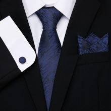 Vangise Fashion classic blue Men Gifts Tie Hanky Cufflinks 145cm Long for Wedding Party Business Set