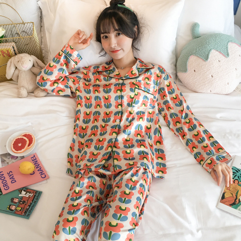 Pajamas Women's Spring And Autumn Long Sleeve Viscose Thin Cute Small Flower Silk Two-Piece Set Students Outer Wear Tracksuit