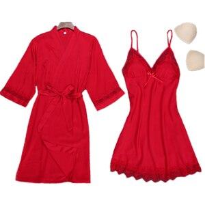 Image 5 - 섹시한 여자 나이트 가운 스트랩 탑 잠옷 정장 여름 두 Piec 잠옷 세트 캐주얼 홈웨어 Nightwear 수면 기모노 목욕 가운