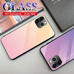 Image 4 - 10 قطعة إطار زجاجي قوي للهاتف المحمول ل أبل فون 11 برو XS ماكس XR X 8 زائد 7 6 6S التدرج اللون الوفير الغطاء الواقي